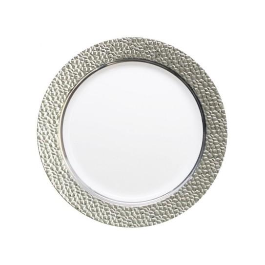Assiette plastique rigide ronde argent