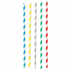 Pailles carton rétro 5 couleurs