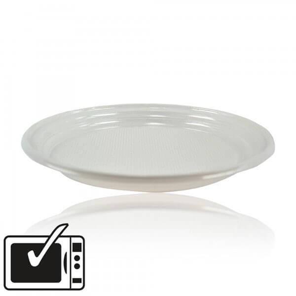 zoom Assiette Eco Plastique Blanche Plate