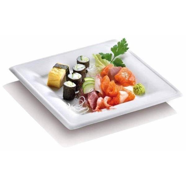 zoom Assiette Pulpe Blanche Écologique Carrée